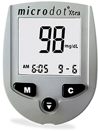 microdot® Xtra No Code blood glucose meter.